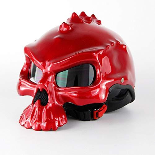 YHBHHW Sicherheitshelm-Feelhist-Gesicht Schädelkopf Reiten Motorradhelm Fahrrad Schlittschuh für lustigen Helm Sicherheitsschutz