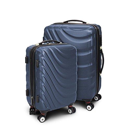 Kofferset M + L 2-teilig Reisekoffer Trolley Hartschalenkoffer ABS Teleskopgriff Modell 'Wave' (Dunkelblau)