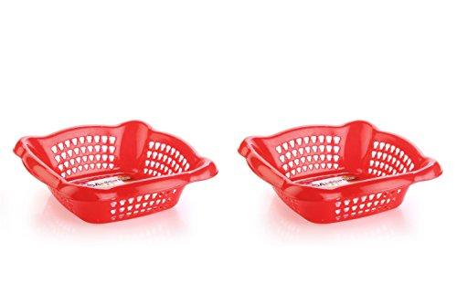 Nayasa Melow 2 Piece Plastic Fruit Basket Set, Small, Red