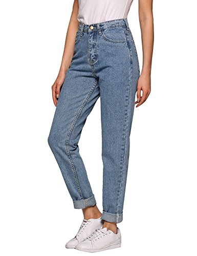 Lomon Jeans Women High Waist boyfriend Straight-Leg mom jeans Slim Denim Trousers Jeggings