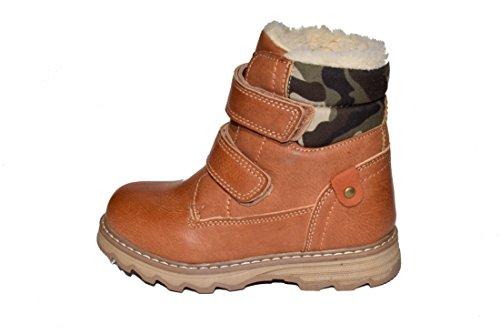 7819–7821 winterboots/tMY-bottes d'hiver pour enfant avec fermeture éclair et velcro couleur :  camel taille :  21–37 Multicolore - Camel
