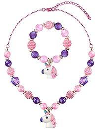 Chunky Bubblegum Licorne Collier Bracelet Set Petites Bijoux Bijoux