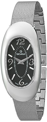 GROVANA 4416.1137 Women's Quartz Swiss Watch with Black Dial Analogue Display and Silver Stainless Steel Bracelet