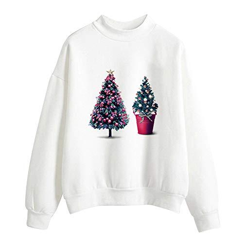Geili Weihnachts Pullover Damen Mädchen Weihnachtsmann Gedruckt Santa Sweatshirt Christmas Sweater Frauen Rundhals Langarm Weihnachten Pulli Bluse Tshirt Tops Festlich Kostüm M-2XL