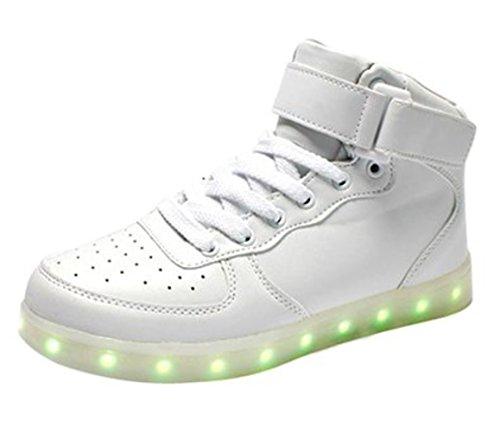 [Present:kleines Handtuch]JUNGLEST Unisex 7 Farbe Farbwechsel USB Aufladen LED Leuchtend High-top Sport Schuhe Hoch Sneaker Tu Weiß