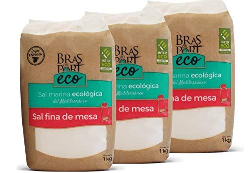 feines meersalz BIO Meersalz - fein- trocken - 100% natürlich - naturbelassenes Premium BIO Speisesalz aus Spanien - Naturpark Salinas von Bras del Port - 3 x 1 Kg