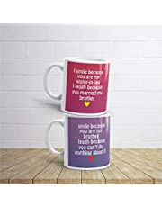 Family Shoping Birthday Gifts for Brother Bhabhi Funny Teasing Bhaiya Bhabhi 2 Coffee Mug, Anniversary Gift Hamper Set