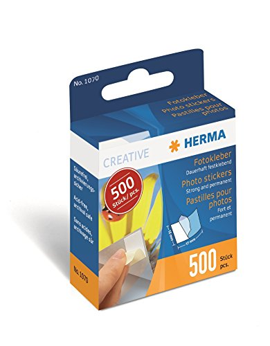 Herma 1070 Fotokleber im Kartonspender (17 x 12 mm) 500 Stück, weiߟ, doppelseitig, dauerhaft selbstklebend
