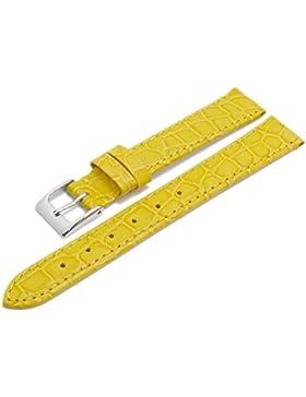 Meyhofer Uhrenarmband Santos 14mm gelb Leder Kroko-Prägung abgenäht MyHeklb192/14mm/gelb/TiT