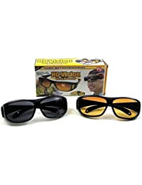 PEARL ACE 2 Hd Vision Wraparounds Sunglasses And Night Vision Glasses Combo Pack