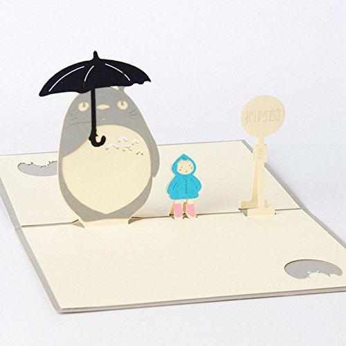 ndgefertigt 3D Pop up my Neighbour Totoro Grußkarte Geburtstag Frohe Weihnachten Ostern Halloween Geschenk Karte 10* 15cm (Halloween-geschenk-karten)