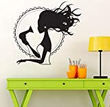 YXWYL Hair Dryer Stylist Vinyl Wall Stickers for Beauty Salon Woman Barbershop Decoration Wall Decals For Gilr Adhesive Art Mural28x30cm