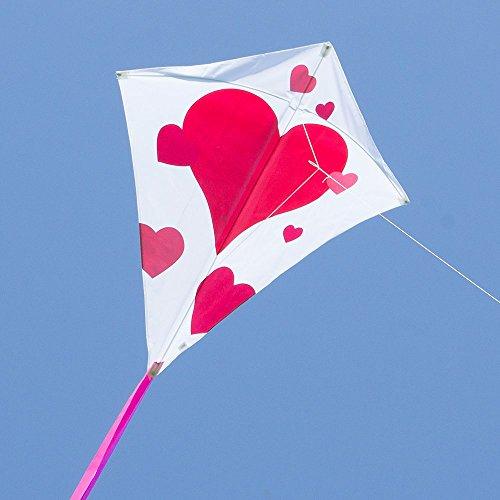 CIM Großer Kinderdrachen - Eddy XL Hearts MUSTHAVE - Einleiner für Kinder ab 6 Jahren - Abmessung: 90x100cm - inkl. 80m Drachenschnur und Streifenschwänze