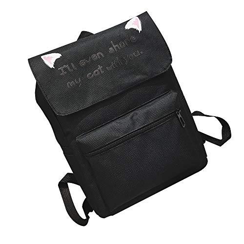 Deloito Unisex Mode Süß Katzenohr Rucksack College-Wind Umhängetasche Reisetasche Studenten Schultertaschen (Schwarz,Freie Größe)