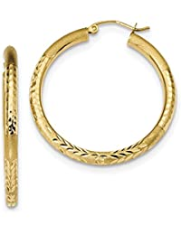ICE CARATS 14k Yellow Gold Hoop Earrings Ear Hoops Set Round Fine Jewelry Gift Set For Women Heart