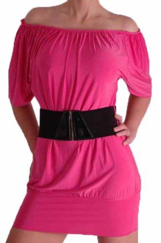 EyeCatch - Aux Femmes Épaule Off Moulante Mini Robe Framboise Rose