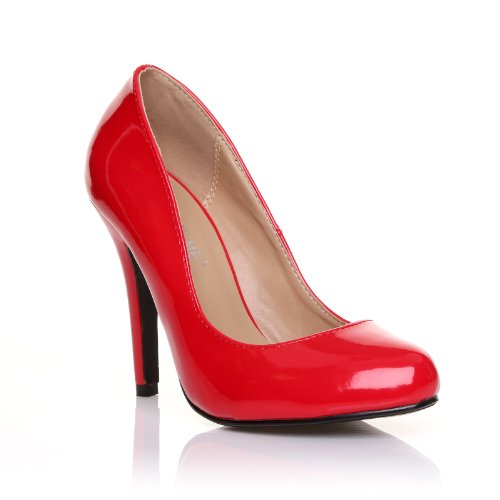 ShuWish UK - Escarpin Chaussure Femme Simili Cuir PU Verni Talon Haut Stiletto Classique Décolleté - Rouge Rouge Verni