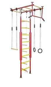 Kletterdschungel Sprossenwand Indoor Klettergerüst (Rot/Gelb, für Raumhöhen von 205 - 240 cm)