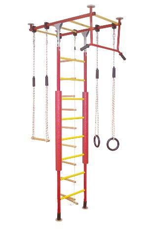 KletterDschungel Sprossenwand Indoor Klettergerüst für den Kindersport (Rot/Gelb, für Raumhöhen von 240-300 cm)
