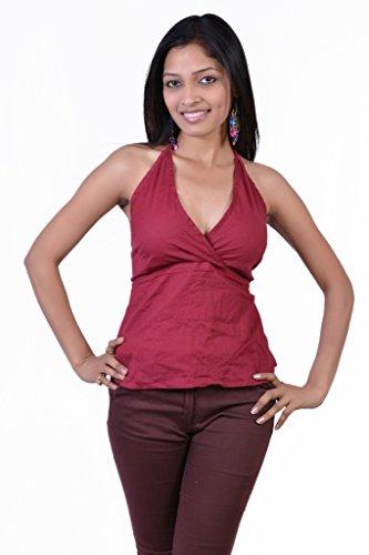 Jaipur Kala Kendra Women's Cotton Beachwear Tank Top Casual Wear Top Medium Red