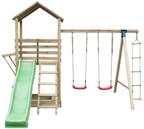 Spielturm 17A inkl. Wellenrutsche, Doppelschaukel-Anbau und Strickleiter – Abmessungen: 315 x 370 cm