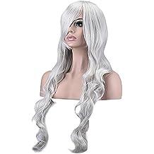 """Ambielly 32""""/ 80 cm De las mujeres Peluca Largo Rizado Ondulado Cabello Fiesta Cosplay Peluca pedazo de cabello Peluca (Plata)"""