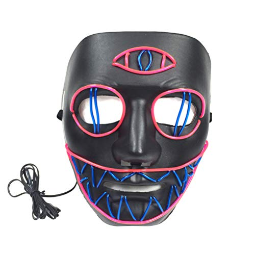 Kostüm Halloween Kreative Paar - Amosfun Halloween Purge Maske led leuchten Maske Scary kreative Maske Cosplay kostüm zubehör für Halloween Karneval Maskerade Party Dekoration (ohne Batterie)