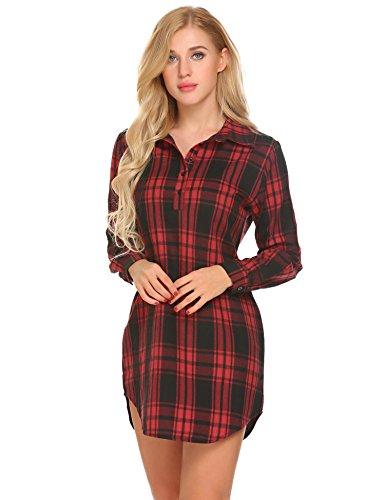 Damen Knopfleiste Nachtwäsche Boyfriend Shirt Nachthemd Hemdkleid Shirtkleid Langarm Sleepshirt in Kariert Design (Sleepshirt Boyfriend)