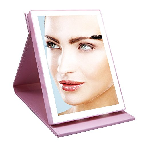 cosoon PU Leder 20LED-beleuchteten wiederaufladbar Make-up Kosmetikspiegel kabellos faltbar...