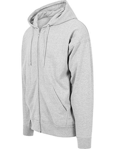 Urban Classics Herren Kapuzenpullover Oversized Sweat Zip Hoody Grau (grey 111)