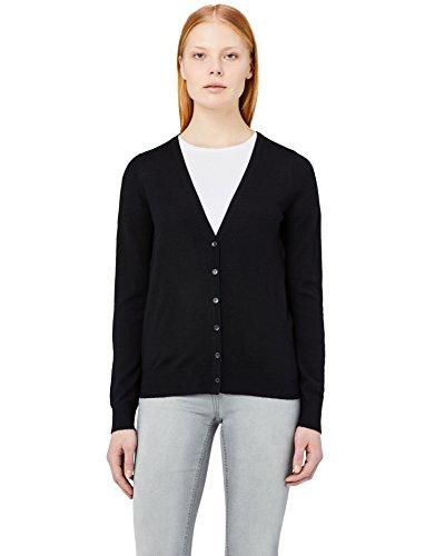 Meraki cardigan lana merino donna scollo a v, nero (black), 40 (taglia produttore: x-small)