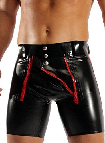 ZOYOL Herren-Pu-Leder-Shorts Plus Größe Club DS Kostüme Herren Lederhose sexy Kleidung, Black, XXL