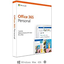 Microsoft Office 365 Personal | utilizzabile da 1 persona su un numero illimitato di dispositivi| 1 abbonamento annuale | si installa su PC/Mac/iOS/Android  | scatola