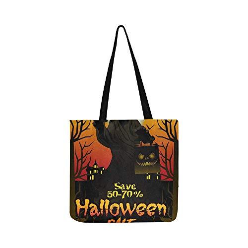 Halloween Verkauf Angebot Poster Design Konzept Leinwand Tote Handtasche Schultertasche Crossbody Taschen Geldbörsen Für Männer Und Frauen ()