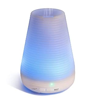 ESEOE 100ML Auto-Off Ultrasonic Diffuser Aromatherapy Diffusers, Air Purifier LED Colorful Night-Ligting Essential Oil Diffusers Humidifiers for Bedroom Office Travel (A)