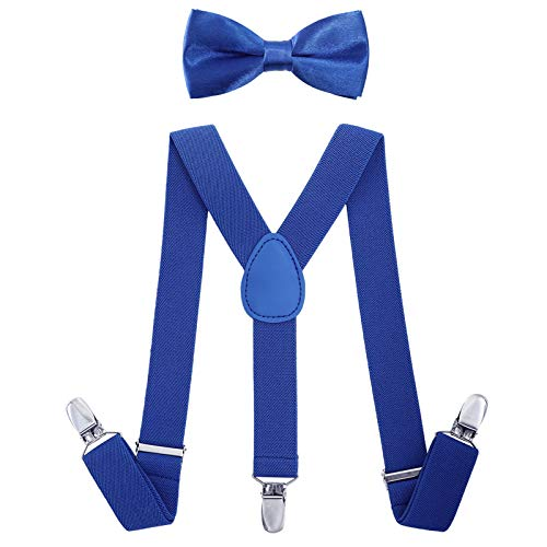 Hosenträger Für Kostüm Mit Kinder - AWAYTR Kinder Jungen Hosenträger Fliege Set - Verstellbar Elastisch Hosenträger mit Krawatte Set für Jungen & Mädchen (Königsblau, 80 cm(6 Jahre alt - 5 Fuß Größe))