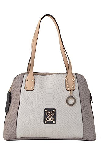 Guess Mellie Dome Satchel PG465808 Damenhandtasche 35x25x14cm (stone multi) (Satchel Guess-handtaschen-top-zip)