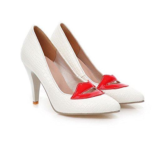 BalaMasa antiscivolo, da donna con tacco alto, di pelle, stampa pompe-Shoes White