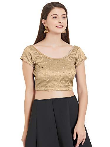MirchiFashion Damen fertige Bluse Kurzarm rückenfrei Dori Folie Arbeitsoberteil (Beige, S)