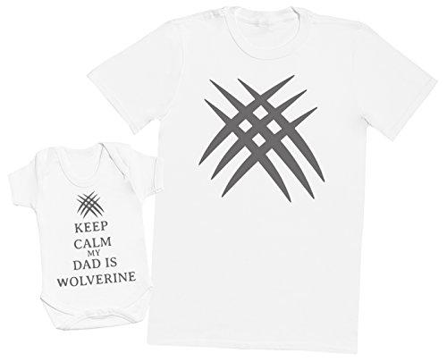 Keep Calm My Dad is Wolverine - Ensemble Père Bébé Cadeau - Hommes T-Shirt & Body bébé - Blanc - XX-Large & 12-18 Mois