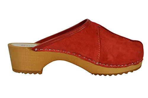 Buxa Zoccoli per le Donne in Legno / Pelle Scamosciata con Centrale Cucitura Rosso