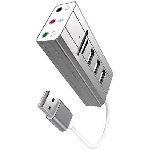Luckiests USB Hub Stereo Externe Soundkarte Kopfhörer-Mikrofon-Adapter USB-Splitter Audio Adapter PC Laptop SD TF-Kartenleser (Usb-mikrofon-kopfhörer-splitter)