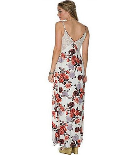 PU&PU Robe Aux femmes Gaine Street Chic,Fleur Col en V Au dessus du genou Polyester WHITE-M