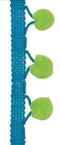 Pom Pom Trim - 1.5 Metres - 10mm Green Pom Poms on Turquoise Blue Ribbon