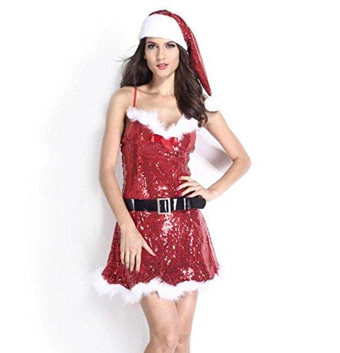 Kostüm Pailletten Santa Sexy Miss - Marcus R Caveggf Damen Sexy Weihnachtsmann KostüM Weihnachts-Performance-Kleidung Rot Pailletten Kurze RöCke Party Abschlussball Kleidung