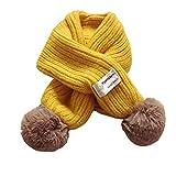 Boomly Baby Säugling Baumwollschal Niedlich Baby Winterkragen Nackenwärmer Warme O-Ring-Schals Halstücher Mit PomPom (Gelb)