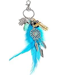 Hexawata Feather Dreamcatcher Pendant Key Ring Bohemian Evil Eye Keychain Purse Decor Charm Key Chain For Birthday...