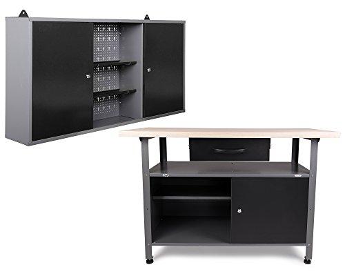 Ondis24 Werkstatteinrichtung Werkstatt aus: Werkbank 120 cm breit mit höhenverstellbaren Füßen...