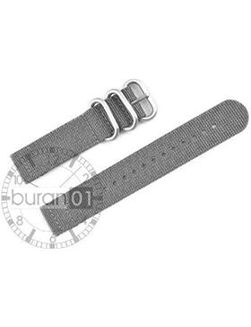 VK von Buran01.com WATCH STRAP FOR NATO NYLON STRONG ZULU Grey/Grau 18mm CUT