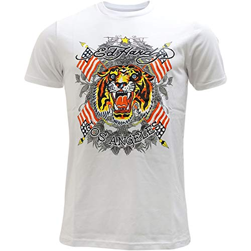 Ed Hardy Herren T-Shirt, Kein Muster Schwarz Schwarz Gr. L, weiß - Hardy T-shirt Ed